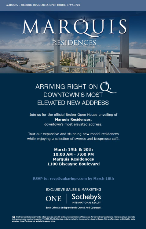 INVITE: Official Broker Open House for the unveiling of Marquis Residences