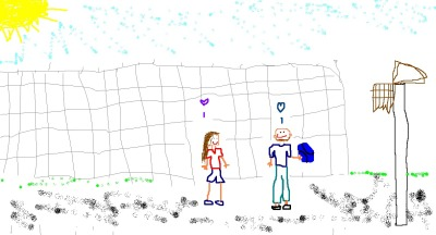 blindfoldsaside:  .and this is the one i drew. .we totally look like that when we shoot hoops.  <3