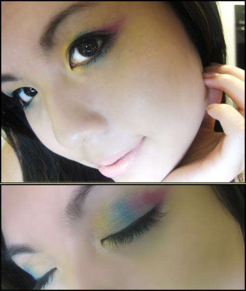 Coastal Scent Eyeshadow 88 palette works wonders! I tried a pastel rainbow eyeshadow look yesterday and this is how it turned out using only Coastal scent 88 palette. So if you can only afford one palette of eyeshadow then I highly recommend this one.  To achieve this look just choose 5 colors that will compliment each other, obviously choose colors from the rainbow. In this photo here I used the shimmer colors. (Start with Yellow then add green, aqua, lavender and fuchsia red.  Do the same near the lower waterline with the colors in order just like how you did it on the eyelids. Be creative! Scroll back up to see finished results. Use a nude coloured lipstick to compliment the eye shadow colours.   .Keego Nguyen