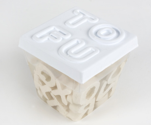Alphabet tofu! This is just a student's design project and not an actual product, but what do you think? Dumb idea, Y/N? Would you buy? Fun for kids? What passive aggressive secret messages would you leave in your significant other's stir fry? Discuss. Brought to us by Jean-Maxime Landry via the Dieline.
