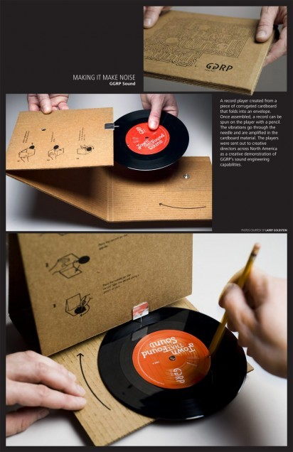 cafcaf:  A record player created from a piece of corrugated cardboard that folds into an envelope. Once assembled, a record can be spun on the player with a pencil. The vibrations go trough the needle and are amplified in the cardboard material. The players were sent out to creative directors across North America as a creative demonstration of GGRP's sound engineering capabilities. Advertising Agency: Grey Canada, Vancouver, Canada (via I Believe in Advertising » GGRP Sound: Cardboard Record Player)