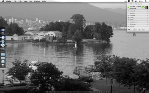 This is my desktop, I tried to follow everything in Minimal Mac, my dock is always hidden, and everything is reduced to make the least noise in my desktop. One point that I've always disagreed with Minimal Mac is Adium, I like Adium, don't get me wrong, but I just love iChat and I live the way it connects with the whole Mac OS environment, besides, I got it to play nicely with Facebook Chat and MSN so all my buddy lists are there.