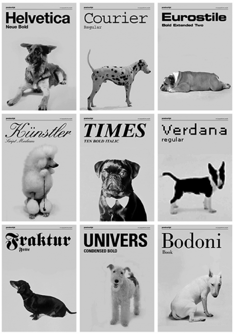 Ah, this is awesome! But who chose Eurostile for the Old English Bulldog? I would've probably gone with Cooper Black. :)  themadeshop:  swissmiss  | Dogs as typefaces