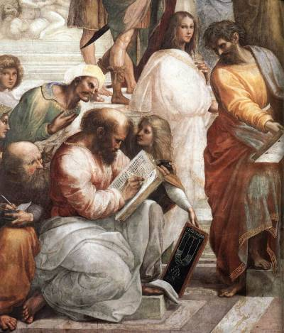 "(Pythagoras reading the book, Hypatia and Parmenides? to the right of her - fragment of The School of Athens by Raffaello Santi (Raphael), 1509-1510) Hypatia (Greek: Ὑπατία, Hypatía, pronounced /haɪˈpeɪʃə/ in English; born between AD 350 and 370; died March 415) was a Greek scholar from Alexandria in Egypt, is the earliest woman scientist whose life is well documented; she was also the last scientist of the Golden Age of Pericles, considered the first notable woman in mathematics, who also taught philosophy and astronomy. She lived in Roman Egypt, and was killed by a Christian mob who falsely blamed her for religious turmoil. Some suggest that her murder marked the end of what is traditionally known as Classical antiquity, although others such as Christian Wildberg observe that Hellenistic philosophy continued to flourish until the age of Justinian in the sixth century. A Neoplatonist philosopher, she belonged to the mathematical tradition of the Academy of Athens represented by Eudoxus of Cnidus; she followed the school of the 3rd century thinker Plotinus, discouraging empirical enquiry and encouraging logical and mathematical studies. The name Hypatia derives from the adjective ὑπάτη, the feminine form of ὕπατος (upatos), meaning ""highest, uppermost, supremest"". Hypatia was the daughter of Theon, who was her teacher and the last known mathematician associated with the Museum of Alexandria. She traveled to both Athens and Italy to study, before becoming head of the Platonist school at Alexandria in approximately 400. According to the 10th century Byzantine encyclopedia the Suda, she worked as teacher of philosophy, teaching the works of Plato and Aristotle. It is believed that there were both Christians and foreigners among her students. Although Hypatia was herself a pagan, she was respected by a number of Christians, and later held up by Christian authors as a symbol of virtue. The Suda controversially declared her ""the wife of Isidore the Philosopher"" but agreed she had remained a virgin. Hypatia rebuffed a suitor by showing him her menstrual rags, claiming they demonstrated that there was ""nothing beautiful"" about carnal desires.  Hypatia maintained correspondence with her former pupil Synesius of Cyrene, who in AD 410 became bishop of Ptolemais. Together with the references by Damascius, these are the only writings with descriptions or information from her pupils that survive. The contemporary Christian historiographer Socrates Scholasticus described her in his Ecclesiastical History:  ""There was a woman at Alexandria named Hypatia, daughter of the philosopher Theon, who made such attainments in literature and science, as to far surpass all the philosophers of her own time. Having succeeded to the school of Plato and Plotinus, she explained the principles of philosophy to her auditors, many of whom came from a distance to receive her instructions. On account of the self-possession and ease of manner, which she had acquired in consequence of the cultivation of her mind, she not unfrequently appeared in public in presence of the magistrates. Neither did she feel abashed in going to an assembly of men. For all men on account of her extraordinary dignity and virtue admired her the more."" (More: Hypatia, daughter of Theron, Librarian of Alexandria)  Documentary on Hypatia and the city of Alexandria  This documentary shows footage of Alejandro Amenábar's last film ""Agora"" proving the historical accuracy of the movie. — Bettany Hughes' TV Tour of the Ancient World, Channel 4, Full playlist"