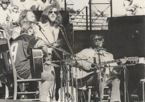 pieceofthesky:  Crosby, Stills, Nash & Young on stage in Texas in 1974