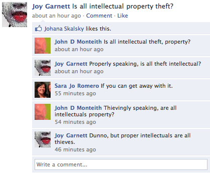 Artist Joy Garnett holds court on Facebook … is all intellectual property theft?