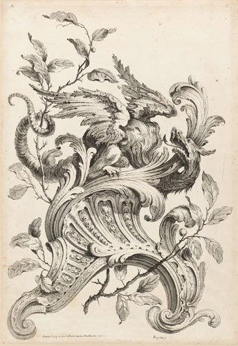 Rococo design for a wood carving   Gabriel Huquier  (1695-1772 )