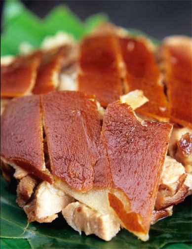 Lechon In the Philippines, lechón is often served with vinegar, lechon sauce (made out of chicken livers or  liver pate combined with vinegar, garlic, and pepper), plum sauce, or other sauces, or with other seasonings or accompaniments.  Another variation, known as Pritchon, consists of a deep-fried  piglet chopped into small pieces and wrapped in pita wedges (à la Peking Duck), and served with an array of special sauces. - Wikipedia Oh lechon, how I love thee.