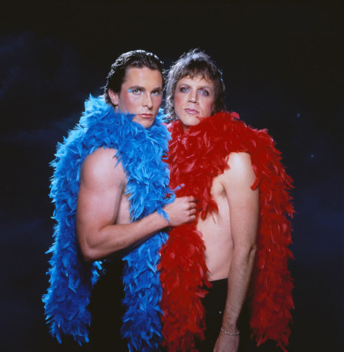 "bohemea:  Christian Bale & Todd Haynes - Velvet Goldmine Promo  If you have not seen this movie, you do not fully comprehend the phrase ""made of awesome."""