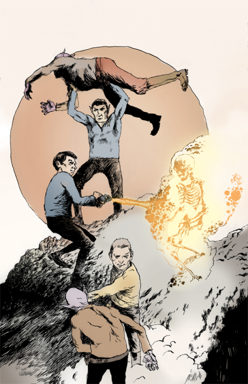 geekleetist:  popartinferno:  Star Trek Guys by Matthew Sheean   Awesome art is awesome