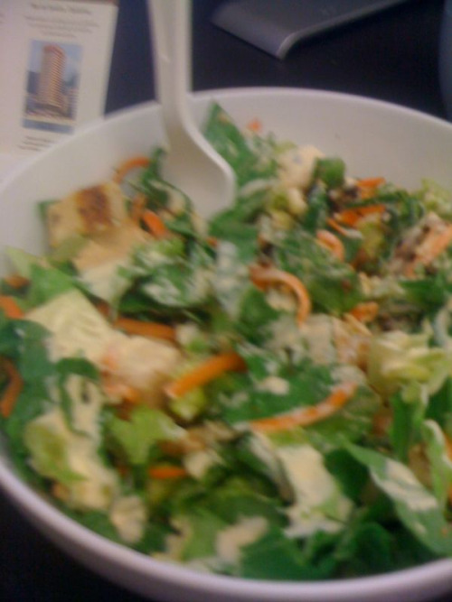 The photo is blurry because I had to take it on the fly.  Sorry salad bloggers! (no one is reading this) So much has happened, blog that no one reads.  Last Wednesday I ate the tiniest leftover portion of my Tuesday salad.  I drenched it in dressing and it was fine.  But it couldn't keep me from my impending sickness.  I got so sick.  I still AM sick.  I am sick with this kind of unknown fire and fury that is probably just pnemonia or something that I need to go to a doctor for and I can't.  I was out of work for the rest of the week. Over the weekend I ate two, possibly three salads.  My Chipotle standard—lettuce, tomatoes, chicken, cheese and guac.  The guac was special because I felt like fucking shit, and since it was the only thing I could even vaguely taste or work up an appetite for I didn't care.  The second was an analogue from Benny's Burritos/Blockheads which I wanted desperately because of the different balsamic dressing.  The lettuce ratio was off, but there was guac too and it kept me from tearing my insides out. My hunger has been so weird with this illness.  I haven't indulged any of the foods I wanted; the sick comfort foods too delicious to list.  The ratio.  The ratio!  I already felt miserable and I can't taste much of anything.  I figured the pursuit of taste would make me eat more and make it all worse.  I think this was a good plan.  It didn't feel good at the time.  Sometimes it was almost overwhelming and exhausting.  But the sheer amount of mucus, I think, draining into my stomach is confusing my senses.  Also the fact I'm breathing at max 20% capacity.  I eat only a little bit before I'm not hungry any more, or maybe I am.  I eat only a little bit before I don't even care any more. This is a Chop't—one of the new seasonal salads.  It introduced the dry rub BBQ chicken (tastes fine, I guess, maybe?) but most importantly the TOBASCO RANCH. I think this makes the whole thing taste like salt and vinegar chips.  I can't be sure!  But what I can be sure about is that I am happy. I also opted for the carrot shreds.  What the hell.  The ratio doesn't allow them, but shreds I figured weren't a big deal.  I added broccoli and bacon to the chicken and cheese.  It's a good salad.  I'll eat it tomorrow too, probably, unless I become famished at some point in the day.  And I'm looking forward to really tasting the dressing at some point.