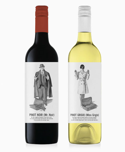 'Miss Grigio and Mr Noir are wine packaging creations for the Marauding  Vintners brand. The name is derived from the mystery surrounding the  brand as they source wines and/or grapes from across the globe. In  reflection of their underground nature Mash played on Mafia type  characters to become the personalities behind these wines. The  illustrations is done by Harry Slaghekke.' See here.