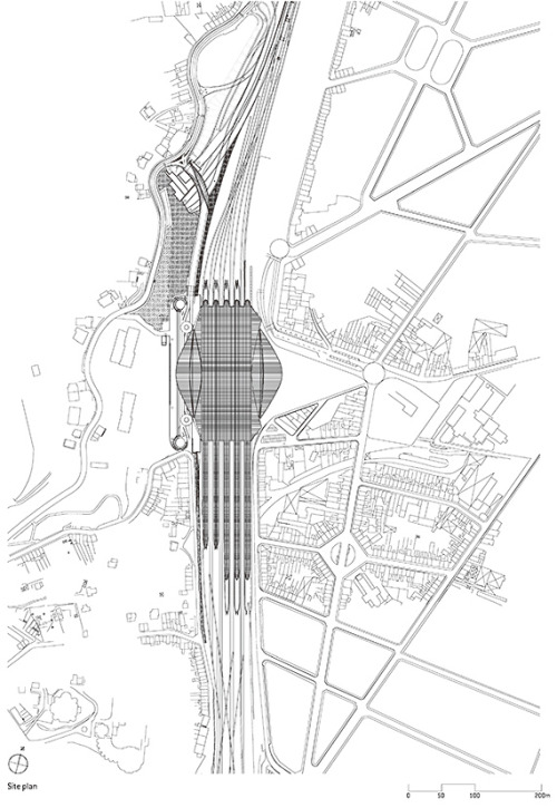 A plan of Liège-Guillemins station, by Santiago Calatrava, at {Voice Maker}SPACE.