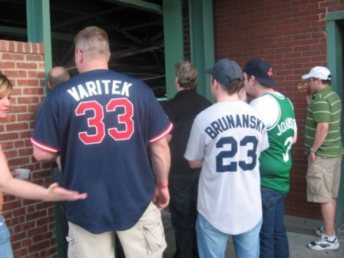 "Tom Brunansky, Boston Red Sox:  ""Ma'am, let us in.  These jerseys are legit.  I know you're thinking, 'Who the fuck is Dennis Johnson?' but I can assure you he's a Boston legend!""  (Found by Michael at Fenway.)"