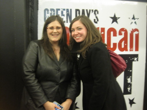"With Allison at the first preview of American Idiot last night! I was surprised by how much I liked the show. I was particularly moved by the dancing (I enjoy modern) and the spectacular performance by Tony Vincent, who plays St. Jimmy. There is also a breathtaking scene involving the ""Extraordinary Girl"" and one of the lead males. I don't want to ruin the surprise, so will simply say that this powerful scene brought tears to my eyes. My only criticism is that the show lacks a real plot. It's loose, at best. The best part: all the hipster parents at the stage door with their eyeliner-wearing kids."