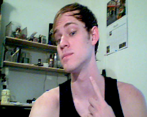 thatqueeramericanboy:  Sorry my webcam sucks. But here is me all clean shave. Seeing what this does for the Bacchae.  Looks good! What is your calender of? And when is the Bacchae going on?