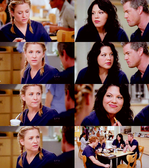 comfypants:   ARIZONA: My lunch is making me sad and I haven't even started eating it yet.MARK: [to Callie] Say something.ARIZONA: I was gonna go for lasagna. I don't know why I didn't pull the trigger.MARK: [to Callie] Say it!CALLIE: [to Mark] Shut up! ARIZONA: Say what?CALLIE: Nothing. MARK: [to Callie] If you don't say it, you're gonna regret it for a long, long time.CALLIE: [to Mark] Enough!ARIZONA: Okay, what is it with you two?  Grey's Anatomy; 6x18 Suicide Is Painless