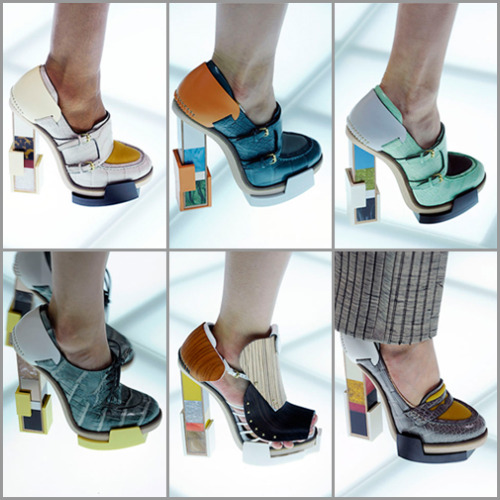 Architectural shoes by Balenciaga…  The latest collection by Balenciaga features footwear that takes an architectural approach, mixing block heels with a collage of materials. The collection was designed by Pierre Hardy to match the high-tech materials of Nicolas Ghesquiere's clothing designs. The shoes are made from a range of materials that include leather, wood, plastic, metal and a few newer high tech materials. The designs feature classic forms like the loafer and brogue, reinvented with the square heels made from collaged bits of plastic that are reminiscent of Memphis Design. Other designs even have slip-in style front that take a design cue from water ski bindings. (via)