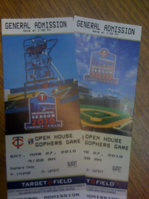 To Target Field I go…tomorrow :)