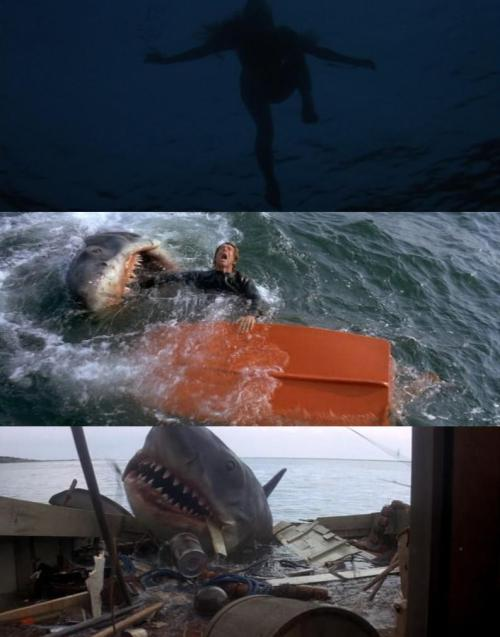 "The Art of Making an Entrance: Jaws (1975, dir. Steven Spielberg) ""That summer, Paramount released Jaws in hundreds of theaters across the nation, an unheard-of practice. It also unleashed a massive - and expensive - national TV ad campaign, also unprecedented. Jaws went on to earn a then-staggering $129 million. The summer thrill-ride blockbuster was born. Jaws changed the business forever, as the studios discovered the value of wide breaks - the number of theaters would rise to one thousand, two thousand, and more by the next decade - and massive TV advertising, both of which increased the cost of marketing and distribution, diminishing the importance of print reviews, making it virtually impossible for a film to build slowly, finding its audience by dint of mere quality. As costs mounted, the willingness to take risks diminished proportionately. Moreover, Jaws whet corporate appetites for big profits quickly, which is to say, studios wanted every film to be Jaws. In a sense, Spielberg was the Trojan horse through which the studios began to reassert their power. As Spielberg admits, 'My influences, in a very perverse way, were executives like Sid Sheinberg, and producers like Zanuck and Brown, rather than my contemporaries in my circle in the 70s. I was truly more of a child of the establishment than I was a product of USC or NYU or the Francis Coppola protege clique.'"" -Peter Biskind, Easy Riders, Raging Bulls"