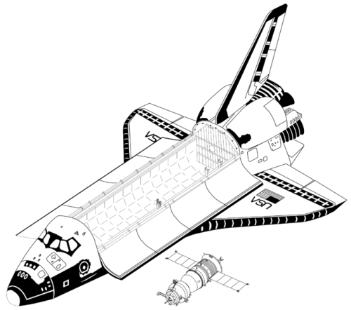Space Shuttle and Soyuz TM - to scale drawing (at Wikipedia).