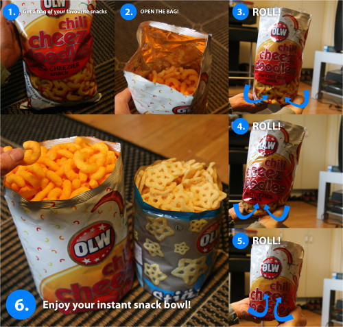 thedailywhat:  Protip of the Day: How to turn your snack bag into an instant snack bowl. If you need assistance accomplishing this nifty hack without the aid of a tip sheet, simply remember this helpful jingle by redditor gfixler: Roll, roll, roll your bag Then enjoy your snack! Merrily merrily merrily merrily Only 3 times you fucking idiot. Hooray! See the source for additional snacking protips to help your plump up nice and good for the wicked witch in Hänsel und Gretel. [reddit.]