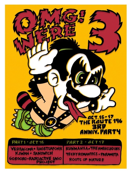 The Art of JP Cuison: ROUTE 196 3RD ANNIVERSARY POSTER Mario/KISS mashup of the day. via [Super Punch]