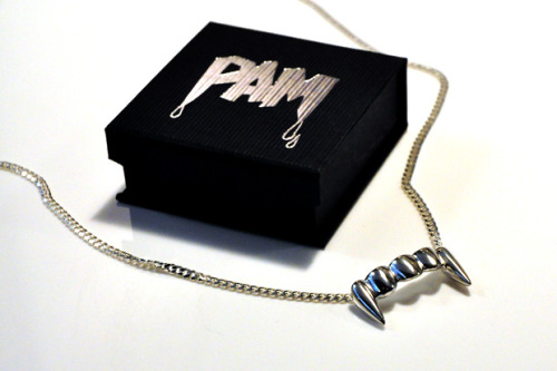 "maggieee:  P.A.M. FANGS NECKLACE Perks & Mini's clothing label P.A.M. has once again released the  iconic ""P.A.M. FANGS"" necklace. Seen as one of its staple items, the  pendant necklace is made from solid silver in Australia and is produced  in very limited quantities. For those interested, it is now available  through Goodhood at the price of £220. (via)"