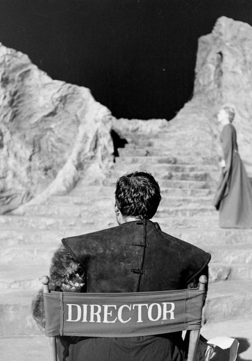 "Orson Welles on the set of Macbeth (1948, dir. Orson Welles) ""You could write all the ideas of all the movies, mine included, on  the head of a pin. It's not a form in which ideas are very fecund. It's a  form that may grip you or take you into a world or involve you  emotionally—but ideas are not the subject of films. I have this terrible  sense that film is dead, that it's a piece of film in a machine that  will be run off and shown to people. That is why, I think, my films are  theatrical, and strongly stated, because I can't believe that anybody  won't fall asleep unless they are. There's an awful lot of Bergman and  Antonioni that I'd rather be dead than sit through. For myself, unless a film is hallucinatory, unless it becomes that  kind of an experience, it doesn't come alive. I know that directors find  serious and sensitive audiences for films where people sit around  peeling potatoes in the peasant houses—but I can't read that kind of  novel either. Somebody has to be knocking at the door—I figure that is  the way Shakespeare thought, so I can't be in bad company!"" -Orson Welles"