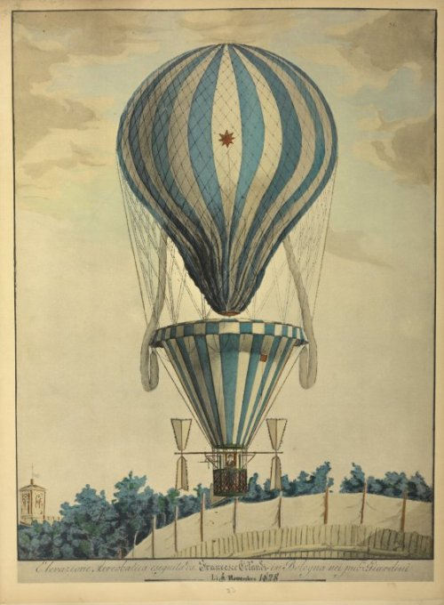 sealmaiden:  The Orlandi Air-balloon, 6 November 1828 Watercolor