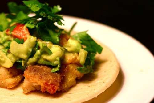 Catfish tacos with guacamole salsa 	Technically, the fish is Swai, a shark catfish from Southeast Asia, bought at the local A&P supermarket.  	Ingredients:  	1 lb catfish, cut into bite size pieces. 	canola oils 	salt & pepper 	cayenne pepper 	fine ground corn meal  	2 avocados 	1 lime 	cilantro, chopped 	1 medium onion, diced 	1 vine tomato, diced 	1 jalapeno pepper, minced (optional)  	corn tortillas  	Preparation:  	Heat up a wok or deep sided pan with several inches of oil and heat on high. Pat the catfish dry, then season with salt & pepper. Cover with cornmeal and season with cayenne pepper. Using tongs, drop into hot oil and fry until done.  	For the guacamole, combine avocados, lime juice, cilantro, onion, tomato in a bowl and season to taste with salt.  	For tortillas, wrap in aluminum foil and heat in oven until hot.   	For extra goodness, I recommend a creamy white cheese or a feta cheese.