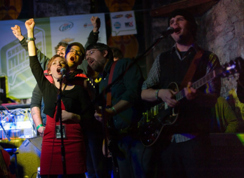 "Here we are, singing ""Bardstown Road"" at the Ale House at SXSW.  Good times!  And this photo was on IFC.com?!  Awesome. More SXSW pics to come!"