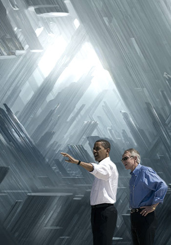 deantrippe:  Barack Obama Looking at Awesome Things #13: The Fortress of Solitude.