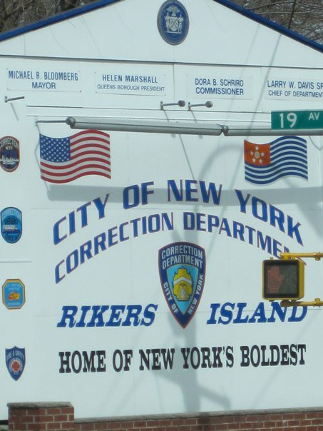 Rikers Island sign, taken by Jamie