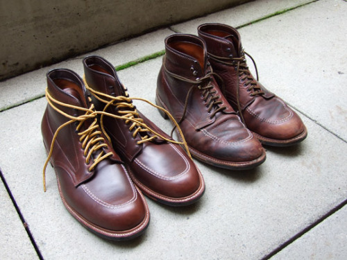 Since we're on this Indy boot kick, here are a pair of Leather Soul Ultimate Indys (a slightly modified version of the original - leather lined rather than cloth lined) new, next to one that's been worn for two years (and is doing great).  Wonderful shoes, mistercrew.