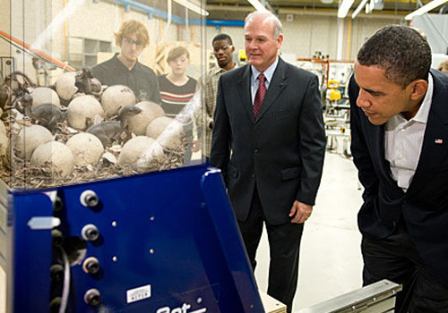 deantrippe:  Barack Obama Looking at Awesome Things #19: Baby Dinosaurs.
