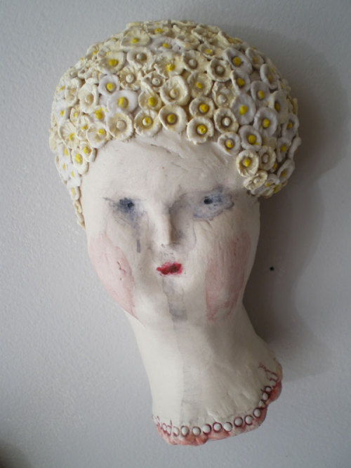porcelain, glaze, paint, 2010.  Cap is inspired by my friend and neighbor Denise.  Thanks Denise for your style.