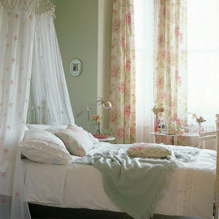 Feminine bedroom with canopy curtains - housetohome.co.uk