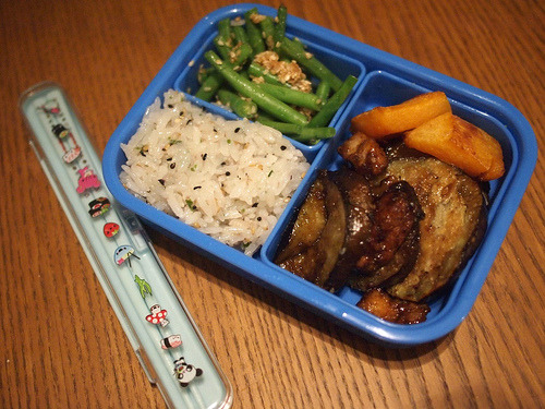 Bento box Leftovers for lunch at work tomorrow! Furikake-seasoned rice Goma ae Teriyaki aubergine Sesame-roasted squash