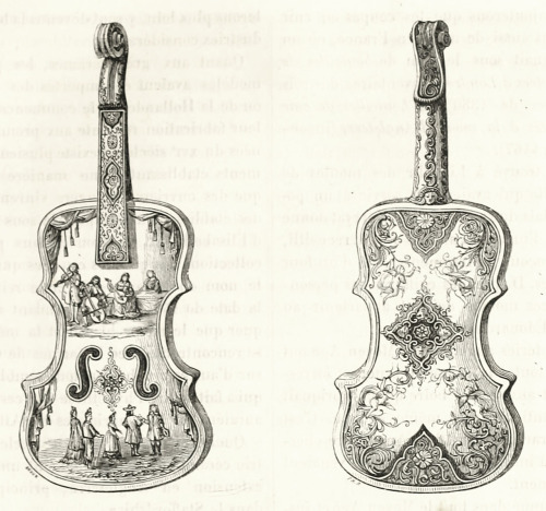 | oldbookillustrations |  Faïence violin, front and rear view, illustration by P. Broux. From Les merveilles de l'industrie  (The wonders of industry), by Louis Figuier, Paris, circa 1871. Via archive.org.