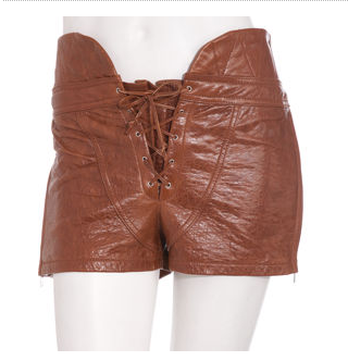 Brown leather corset shorts by Alexander Wang, $725.00 at Barney's. Now, I have never been to a Renaissance Fair, but this is what I imagine ye olde prostitutes to wear.