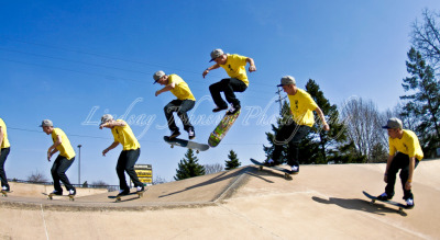 James Bennett: A hardflip over the pyramid at Ranney Skatepark in Lansing, MI. Photo by: Lindsay Johnson