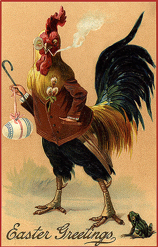 Vintage Easter Postcard-Mr. Smoking Rooster! (via finsbry)