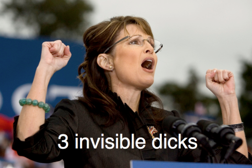 "thepoliticalpartygirl: So, it is my general understanding… That dudes are, for the most part, fond of blow jobs. generic1: Both sexes enjoy oral stimulation of their genitals. Your mileage may vary. thepoliticalpartygirl: And yet, and YET!  They degrade women who give them. Counterintuitive?  generic1: ""Degrade"" is a minefield of sexual politics. I'll go there, but it will take all week. We can agree that a beejay is not as reciprocal as intercourse, yes? We can shake hands on the notion that there is an element of ""servicing"" to fellatio, right? thepoliticalpartygirl: Not in our society!  I mean, take this photo that you have to click through to see, because I don't want it on my blog.  People laugh at a woman who (kinda sorta maybe?) looks like she is fellating an invisible penis (or three)! generic1: Yes! Sarah Palin is pantomiming a gang-bang! Funny! thepoliticalpartygirl:  By opening her mouth!  Shut up, woman. generic1: PROJECTING! thepoliticalpartygirl: Be seen, not heard.   generic1: AGAIN, PROJECTING. thepoliticalpartygirl: Because that's all Sarah Palin is doing here — being heard, speaking to a crowd. generic1: Personally, I saw her fellating the three branches of American conservatism. We can go deeper into that subtext if you like. thepoliticalpartygirl:  Sure, it's a crowd of jerks, and she's probably saying hateful things, but that's not the point — even though it should be — because LOLslut, right? generic1: I have no problem with sex work. Sasha Grey is honest and forthright in how she earns her living.  But I do have a problem with a person who cynically manipulates a political movement for profit. I think it's funny when the two images are conflated. There are many kinds of prostitution. thepoliticalpartygirl: I know this is not a revelation; we all know this is how our culture rolls.  But that doesn't make it any less frustrating, especially when I end up SIDING WITH SARAH PALIN who we all know is not exactly the best crusader for women's rights. generic1: EXACTLY SO. Could there be any more potent image for fluffing up the patriarchy? thepoliticalpartygirl: Dear Straight Dudes,STOP MAKING ME DEFEND SARAH PALIN!   generic1: Stop hitting yourself, stop hitting yourself. thepoliticalpartygirl: And stop biting the hand that, um, ""feeds"" you? —-Humorless Bitch/PPG  generic1: Yes, but let's be clear: the reason you're humorless is not your feminismz. It's your inability to see the inherent humor in a blow job. Here, let me help."