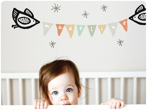 Cute idea for a nursery! Birdie bunting wall decal by Wee Gallery via The Haystack Needle.