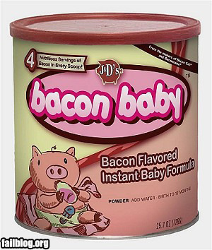 How funny! Bacon flavored baby…formula.  But it'd be pretty interesting if a baby actually was bacon flavored! baconbaconbacon:  Bacon Flavored Baby Formula At first we thought this was not bacon-flavored baby formula, but bacon-flavored baby Mmm… baby… via ryanphelps