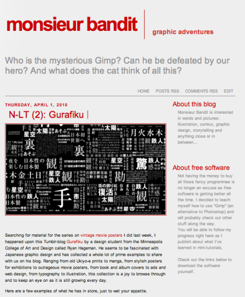 Japanese Design: Gurafiku featured over at Monsieur Bandit.