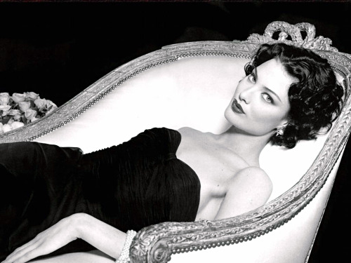 Shalom Harlow, black and white, nice chair, black dress, familiar // dichis: Shalom Harlow in the apartment of Coco Chanel