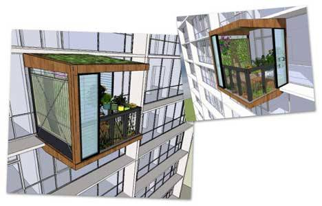 "Via urbangreens:  Plant  Room: Clip-On Shed For Apartment Buildings | Treehugger ""The Plant Room is a 'a prefabricated room that bolts-on to a variety of existing apartment types, improving the quality of living, reducing energy and water use, and generally making the building more sustainable…'It provides hot water for one occupant and a healthy growing space for herbs, fruit and vegetables all year round. It also offers a worm farm, a rainwater tank, an outdoor space and an enclosed room."" Worm farm! via ninaprettyballerina"