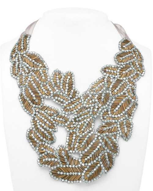 Fabulous is a word I would use to describe this Vera Wang Beaded Gold Leaf Bib Necklace. I actually think this looks more like feathers, but no matter; the intricate beading detail is exquisite. Honestly, after wearing this, how could you top this kind of flawless perfection in jewelry? Answer: you can't. I would love love love to see this paired with a deep dark-colored (navy, perhaps?) V-neck evening gown on the likes of someone like Marion Cotillard. Sold out, because this kind of finery doesn't stick around for long at discount prices, for a measly $259 (down from $1,450! I die) over at Rue La La.